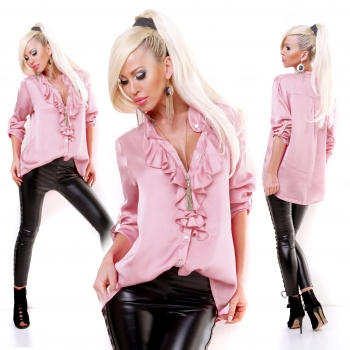 1 x  5PEOPLE!S Bluse XMAS DINER Tunika  Glossy rosa